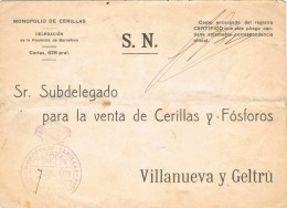 18325. Carta BARCELONA 1928. RARA Franquicia Monarquica Monopolio De Cerillas - 1889-1931 Royaume: Alphonse XIII