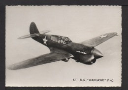 "CPSM Gf. US . AVION : Curtiss . ""WARHAWK"" P 40. - Guerre 1939-45"