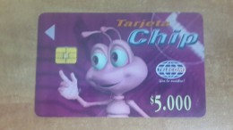 Colombia-(col-tl-01)-sporting Ant(character Of The Company-($5.000)-chip Card-ant Purple Card-used+1card Prepiad Free - Colombia