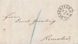 Preussen Brief Hufeisenstempel Elberfeld 18.5.1866 Gel. Nach Remscheid - Preussen
