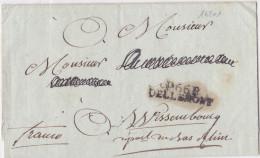 16201# P.66.P. DELLEMONT 34*8.5mm PORT PAYE HAUT RHIN LETTRE SANS CORRESPONDANCE Pour WISSEMBOURG Cote 750 Euros - Postzegels