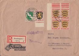 Fr. Zone R-Brief Mif Minr.1,2, 4x 8 4er Block OER Reutlingen 18.4.46 Gel. Nach Menden - Französische Zone