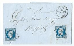 LETTRE 20 C   EMPIRE  N°14  DANNEMARIE A BELFORT   PC - Marcophilie (Lettres)