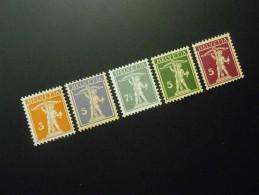 CH ZNr.137(*)(UNG) + 157(*)(UNG) + 138 Ll(*)(UNG) + 183*(MLH) + 170*(MLH)  - Tellknabe - 1915-1930 - Switzerland