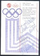 Switzerland 1980 Olympic Winter Games Lake Placid Autographs Card: Olympische Spiele Lüscher Müller M.T.Nadig Zurbriggen - Winter 1980: Lake Placid