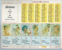 ALMANACH DES POSTES  1991 ( CALENDRIER ) DICTONS DU TEMPS ET DES SAISONS  ( Déssin: RUSECLIS ) EROTIQUE - Calendriers