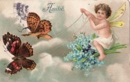 """ANGES ANGELOT AVEC  UN ATTELAGE DE PAPILLONS """"AMITIE"""" (CARTE GAUFRE) - Angels"""