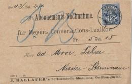 DIESLDORF → J.Hallauer Buchhandlung Oerlikon, Abonnements-Nachnahme ►Ganzsache SBK 62A 1899◄ - Stamped Stationery