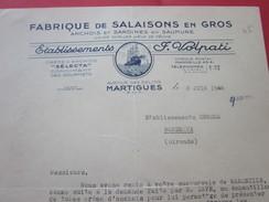 F. Volpati Salaisons Anchois-Sardines Martigues Facture & Document Commercial Illustré France  Gresca Marseille - Alimentaire
