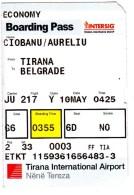 Albania , Tirana - Belgrad , Avion Ticket ,  2016 , Used - Plane