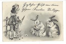 14772 - Jeune Fille Et Deux Lapins Carte En Relief - Femmes