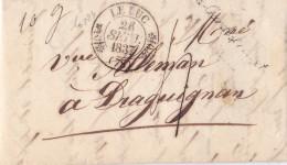 16224# LETTRE ECHANTILLONS DE TISSUS Obl 78 La Garde Freinet CURSIVE 46 Mm 1837 VAR LE LUC T11 DOUBLE FLEURON - Marcofilia (sobres)
