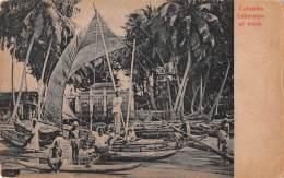 """05675 """"SRI LANKA (CEYLON) - FISHERMEN AT WORK"""" ANIMATA, BARCHE. CART. POST. ORIG. NON SPEDITA. - Sri Lanka (Ceylon)"""