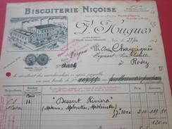 Biscuiterie Niçoise F. Hugues  Nice Dessert Riviera Facture & Document Commercial Illustré-France  Rodez - 1900 – 1949