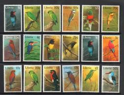 1997 Liberia Birds Kingfisher Definitive  Cpl Set Of 16 MNH - Liberia