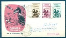 1952 , GUINEA ESPAÑOLA , ED. 318 / 320 , SOBRE DE PRIMER DIA DE CIRCULACIÓN , DIA DEL SELLO COLONIAL - Guinea Española