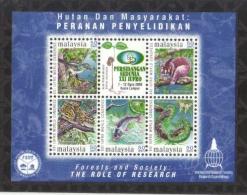 18H : Malaysia International Forestry Conference,bird,leopard,butterfly,fish,loris,snake Miniature Sheet, MS - Malaysia (1964-...)