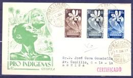 1952 , GUINEA ESPAÑOLA , ED. 314 / 316 , SOBRE DE PRIMER DIA DE CIRCULACIÓN , PRO INDÍGENAS - Guinea Española