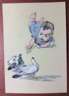 """Vintage USSR Postcard 197  Boy Baby Doves The Bird World. """"Child And Pigeons"""" Artist Czyan Chzhao-He - China"""