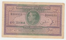 """Cyprus 2 SHILLINGS 1940 """"F+"""" Pick 21 - Chypre"""