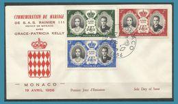 Monaco 1956 473 à 475 FDC Mariage Princier Rainier III Grace Patricia Kelly - FDC