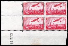FRANCE - YT PA N° 11 Bloc De 4 Coin Daté - Neuf **/* - MNH/MH - Cote: 250,00 € - Airmail