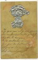 Kirchner Embossed 2 Women Profiles In Silver Art Nouveau Gaufrée - Kirchner, Raphael