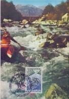 ANDORRA :1969: Y.196 On Maximum Card / Sur Carte Maximum: RAFTING,KAYAK,