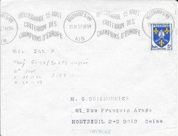 AIN (01) BELLEGARDE S/ VNE - FLAMME  BEL 542 K - BELLEGARDE 15 AOUT / CRITERIUM DE / CHAMPIONNATS D'EUROPE TB FRAPPE 58 - Postmark Collection (Covers)
