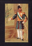 Chromo Fond Doré Appel Costumes Militaires  Perse   A Richelieu  Military Costumes Persia  1879 - Chocolat