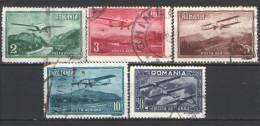 1931 Romania , Air Post - Monoplanes Set , Mi. 419-423 - Gebraucht