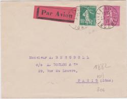 Lettre Par Avion Lille Aviation Nord 1929 Pour Paris Affranchie Avec Semeuses Camée Et Lignée - Air Post