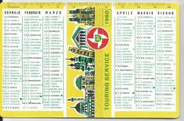 CALENDARIETTO  PLASTIFICATO PLUBBLICITARIO- TOURING SERVICE BP -ANNO 1960 - Calendari