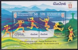 Serbia, 2016, XXXI Summer Olympic Games In Rio De Janeiro (Olimpiadi Estive Di Rio De Janeiro), Block, MNH (**) - Serbia