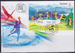 Serbia, 2016, XXXI Summer Olympic Games In Rio De Janeiro (Olimpiadi Estive Di Rio De Janeiro), Block, FDC - Serbia
