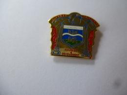 PINS SAPEURS POMPIERS DE CONTREXEVILLE / Courage Et Dévouement / Signé Charly Pins / 33NAT - Pompiers