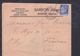 Type Paix 368 Cad Bassuet Enveloppe Albert Barrois Marechalerie Charpentes Metalliques Vers  College Vitry Le Francois - 1921-1960: Période Moderne