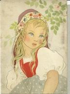 RAGAZZA BIONDA E Occhi Azzurri  Copricapo Con Fiori  Sign MIKI  N°301 - Altre Illustrazioni