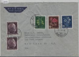 1948 PJ Satz J125-128 Auf Brief Von Zürich Nach New York - Pro Juventute
