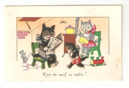 CPA Fantaisie IDA Rien De Neuf Ce Matin! Chats Humanisé Un Lisant Journal L´utre Cousant & Un Jouant Au Train - Gatti