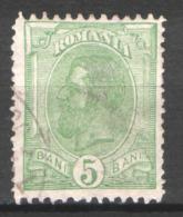 Romania 1900, 5b Yellow-green ,King Carol I , Mi. 132/Yv. 127 - Used Stamps