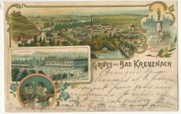 Gruss Aus Bad Kreuznach  Litho Ludwig Feist P. Used Bingen 1897 To Geisenheim - Bad Kreuznach