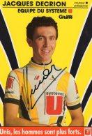 3904 CP Cyclisme    Jacques Decrion Dédicacée - Cyclisme