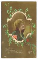 Carte Postale Ancienne Patriotique Bonne Année Femme - Patriotiques