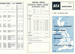 British European Airways (BEA) : Horaires N° 1 (1964), Le Bourget, Birmingham, Glasgow, Londres, Manchester, Dublin... - Timetables