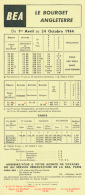 British European Airways (BEA) : Horaires (Avril- Octobre 1964) Le Bourget-Angleterre (Londres Heathrow)-Le Bourget - Timetables