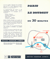 British European Airways (BEA) : Navette Cars Paris - Le Bourget En 30 Minutes, Nouvelle Aérogare Place Perreire - Timetables