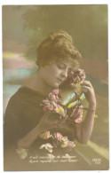 Carte Postale Ancienne Patriotique Il Est Message De Bonheur Femme - Patriotiques