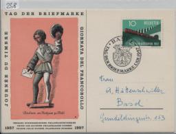 1957 Tag Der Briefmarke - Journee Du Timbre In Basel Karte - Marcophilie