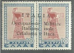 OCCUPAZIONE ITALIANA CEFALONIA E ITACA 1941 L 10 + 10 LEPTA MNH - 9. Occupazione 2a Guerra (Italia)